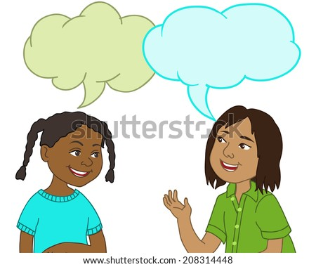 African American Girl Indian Boy Talking Stock Vector ...