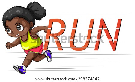 African american girl running alone - stock vector