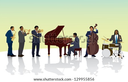 African American Jazz Band - stock vector