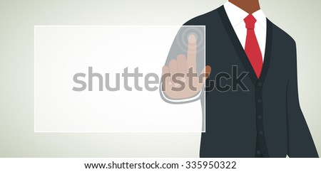 African American Man Touching Virtual Screen with Blank Space for Text Vector Illustration - stock vector