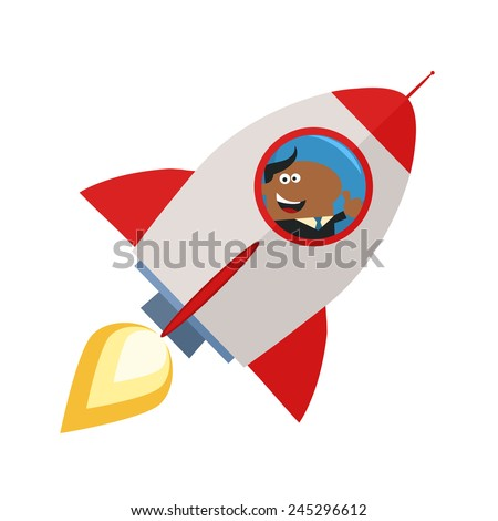 African American Manager Launching A Rocket And Giving Thumb Up.Flat Style Vector Illustration Isolated On White - stock vector
