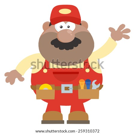 African American Mechanic Cartoon Character Waving For Greeting Flat Style. Vector Illustration Isolated On White - stock vector