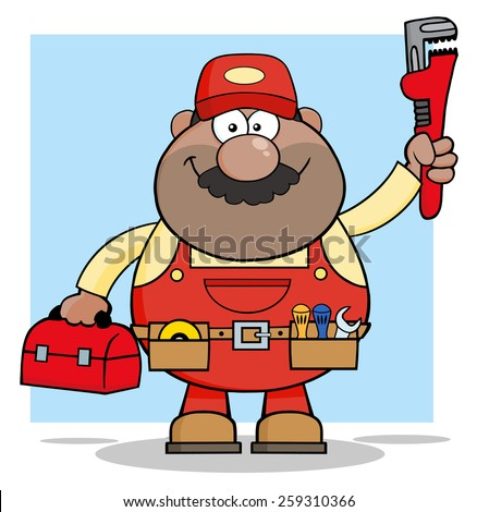 African American Mechanic Cartoon Character With Wrench And Tool Box. Vector Illustration With Background - stock vector