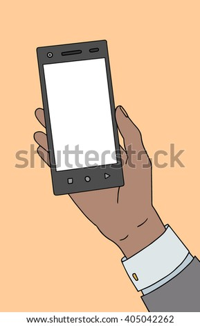 African american or asian black skin male hand with smartphone. Vector illustration. - stock vector