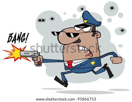 African American Police Man Running With A Gun.Vector Illustration - stock vector