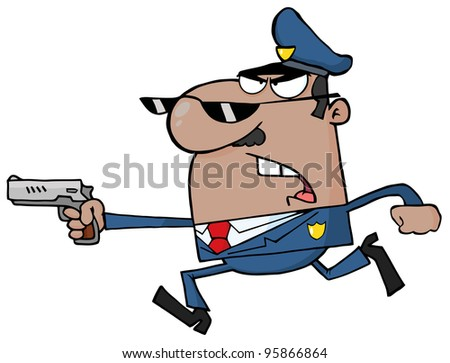 African American Police Officer Running With A Gun.Vector Illustration - stock vector