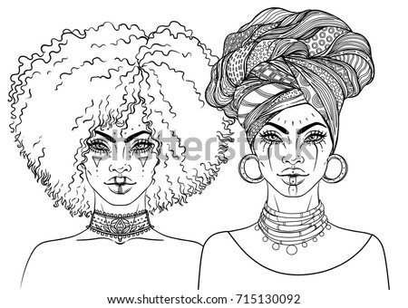 black women coloring pages - turban coloring pages