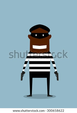 African american robber or thief cartoon character in black mask and striped prisoner cloth standing with gun in both hands, suitable for crime or criminal concept design - stock vector