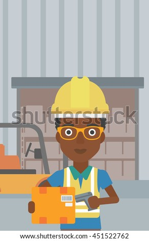 African-american warehouse worker scanning barcode on box. Warehouse worker checking barcode of box with a scanner. Woman in hard hat with scanner. Vector flat design illustration. Vertical layout. - stock vector