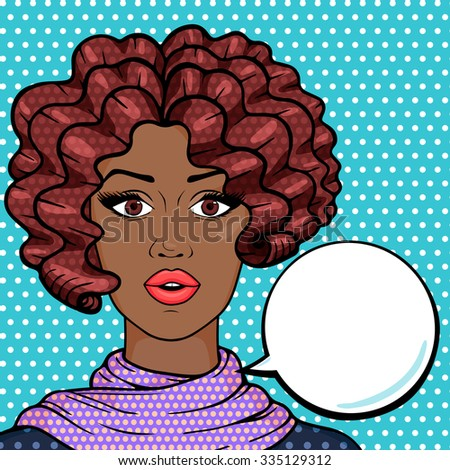 African american woman closeup with think bubble for your text, pop art comic style vector illustration. Stylish surprised girl with brown afro hair thinking. - stock vector