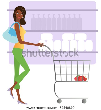 African American woman shopping for groceries