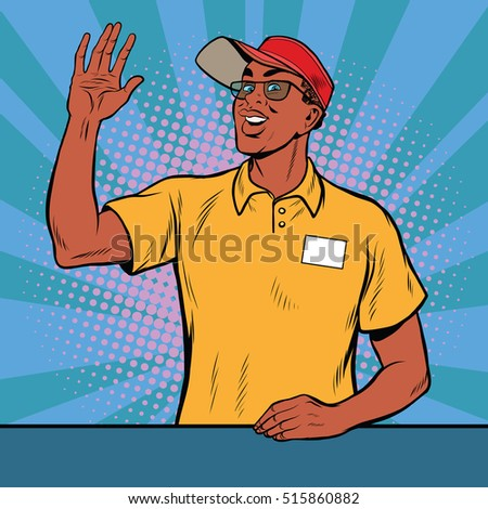 African American worker fast food welcomed, pop art retro vector illustration. A restaurant employee. The seller is in uniform