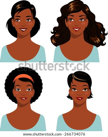African american young beautiful woman faces set isolated on white background - stock vector