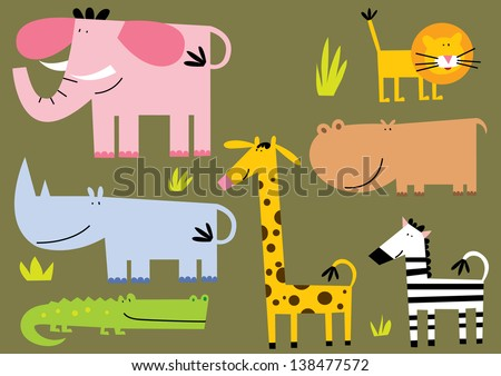 African Animal.Set of seven different stile African animal. - stock vector