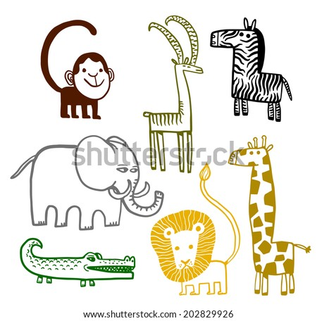 African animals color - stock vector