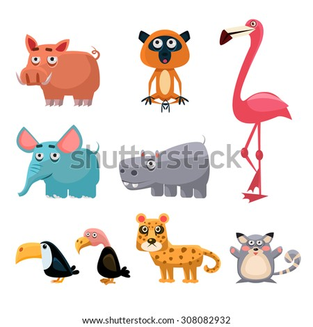 African Animals Fun Cartoon Clip Art Collection. Brightly colored childish African animals set. Vector illustration  - stock vector
