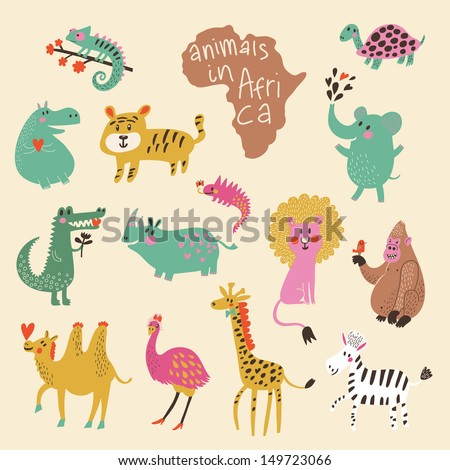African animals: iguana, turtle, elephant, tiger, hippopotamus, crocodile, rhinoceros, lion, gorilla, camel, ostrich, giraffe, zebra in vector. Funny cartoon animals in bright colors. Childish set - stock vector