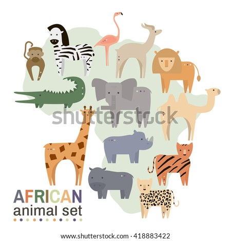 African animals in geometric flat style. Hippo, giraffe, flamingo, elephant, lion, monkey, giraffe, rhino, zebra,crocodile, lynx,gazelle, rhinoceros isolated on white. Vector illustration - stock vector