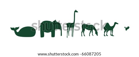 African animals on a white background - stock vector
