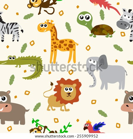 African animals seamless pattern. Cartoon childish animals. Vector illustration - stock vector