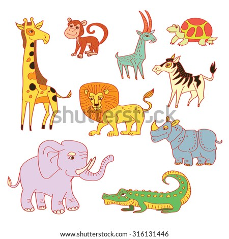 African Animals set - funny cartoon hand drawn characters.Vector illustration, color, childish Jungle Animals collection. Sketchy tropical animals. Isolated on white. - stock vector