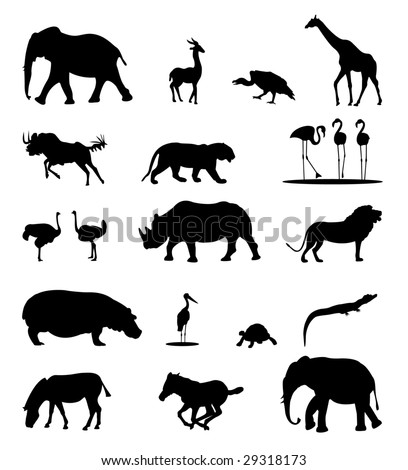 African animals silhouettes - stock vector