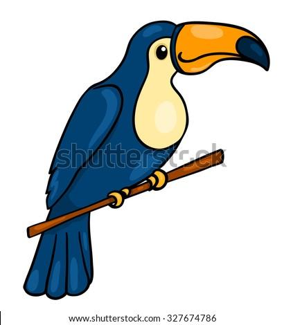 African animals. Toucan. Vector cartoon illustration. Isolated on white. - stock vector