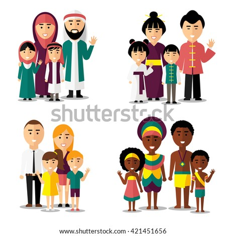 African, asian, arab and european families. Characters icons set. Vector illustration - stock vector