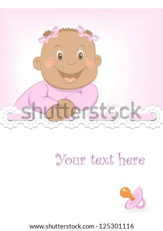 African baby girl arrival announcement - stock vector