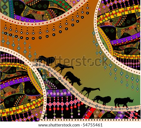 African background in the ethnic style of the various elements - stock vector