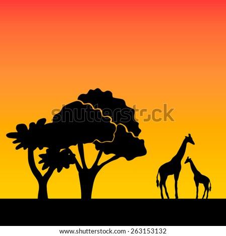 African background on evening savanna  - stock vector