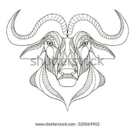 African buffalo head zentangle stylized, vector, illustration, freehand pencil, hand drawn, pattern. Print for t-shirts, mobile cover design. - stock vector