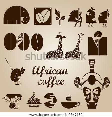 African coffee design set in vector - stock vector