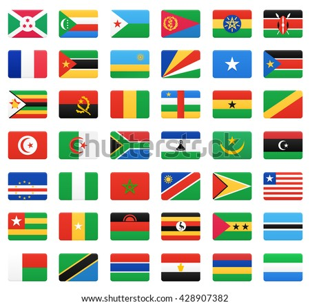 African countries flags. Vector icons set. - stock vector