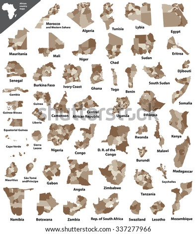 African country maps - stock vector