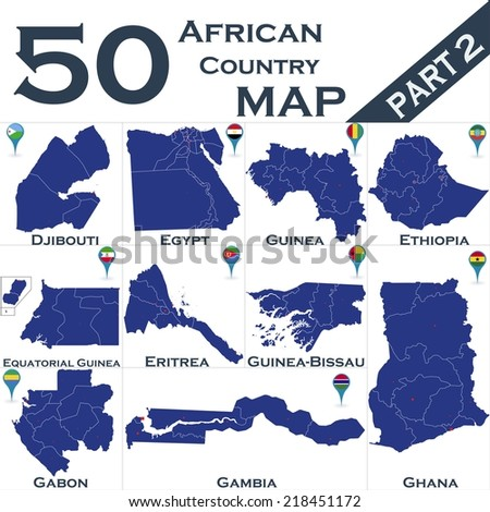 African country set with map pointers - Part 2 - stock vector