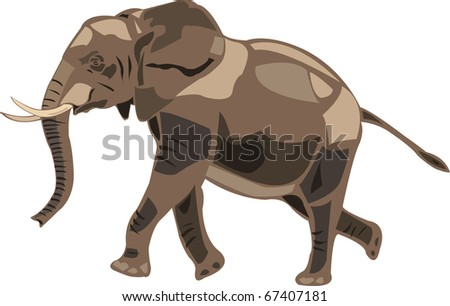 African elephants are the largest land mammal - stock vector