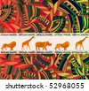 African ethnic background with traditional animal(eps.10) - stock photo