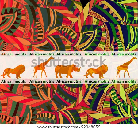 African ethnic background with traditional animal(eps.10) - stock vector