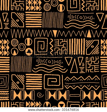 African ethnic pattern - tribal art background. Africa style design. - stock vector