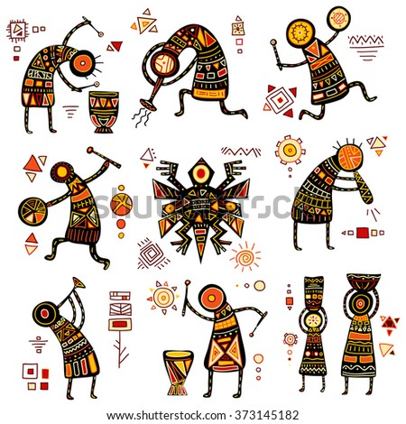 African ethnic patterns of yellow, orange, black and red color - stock vector