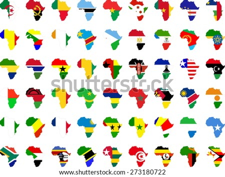 african flags and continent collection - vector - stock vector