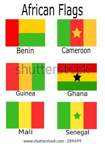 African Flags - Benin, Cameroon, Guinea, Ghana, Mali, and Senegal
