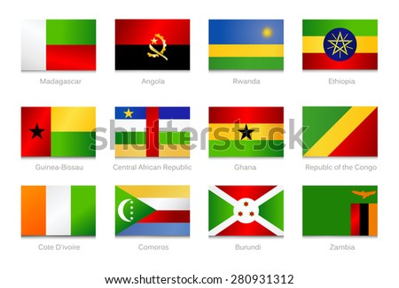 African Flags. Collection part 3. Vector illustration.