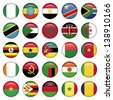 African Flags Round Icons - stock photo