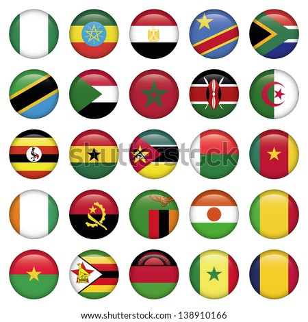 African Flags Round Icons - stock vector