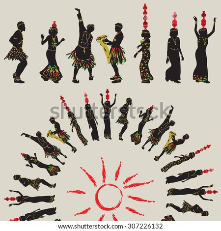 African folk dance. Women with jars on their heads and men dancing in a circle around the sun - stock vector
