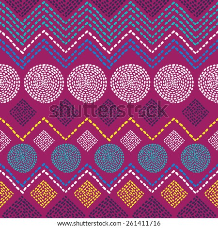 African geometric colorful ornament. Vector seamless pattern. - stock vector
