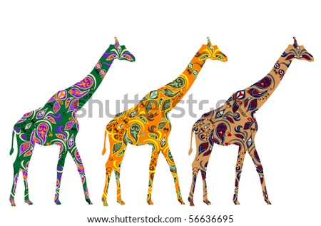African giraffes are patterned in ethnic style - stock vector