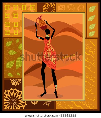 African girl dressed in a decorative - stock vector